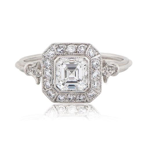 Asscher Cut Engagement Ring Vintage Style Antique Jewelry