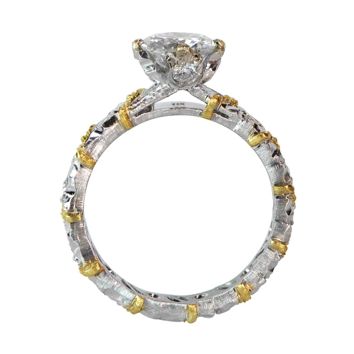 Rare Buccellati engagement ring with diamond and gold detailing