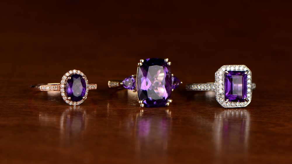 Amethyst Rings 6th Wedding Anniversary Gemstone