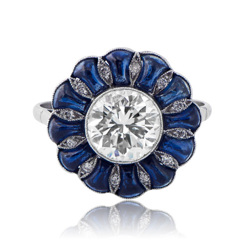 Rare diamond and cabochon sapphire ring