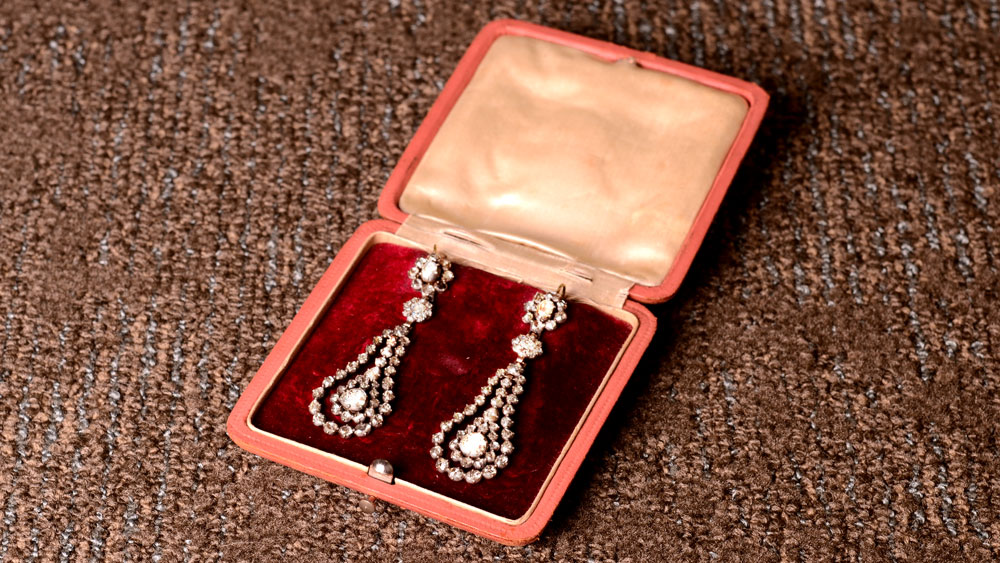 Antique Estate Jewelry Earrings in Case