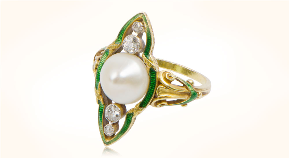 Art Nouveau Pearl and Enamel Ring