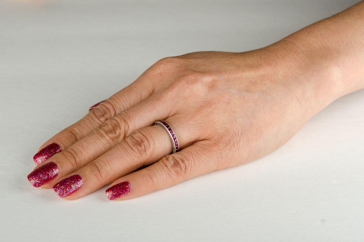2.00ct Platinum Burma Ruby Eternity Band   Estate Diamond Jewelry