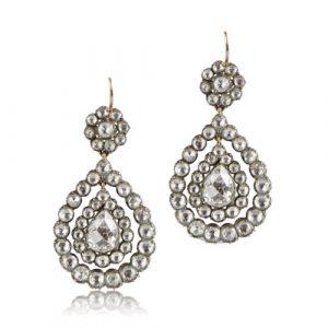 Victorian Vintage Rose-cut Diamond Earrings