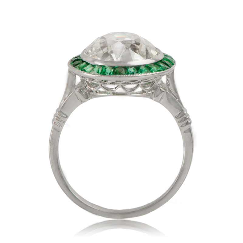 ae7f00952228 Diamond Ring with Emerald Halo - Estate Diamond Jewelry