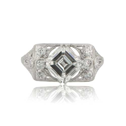 Antique Asscher Cut Engagement Ring Circa 1930