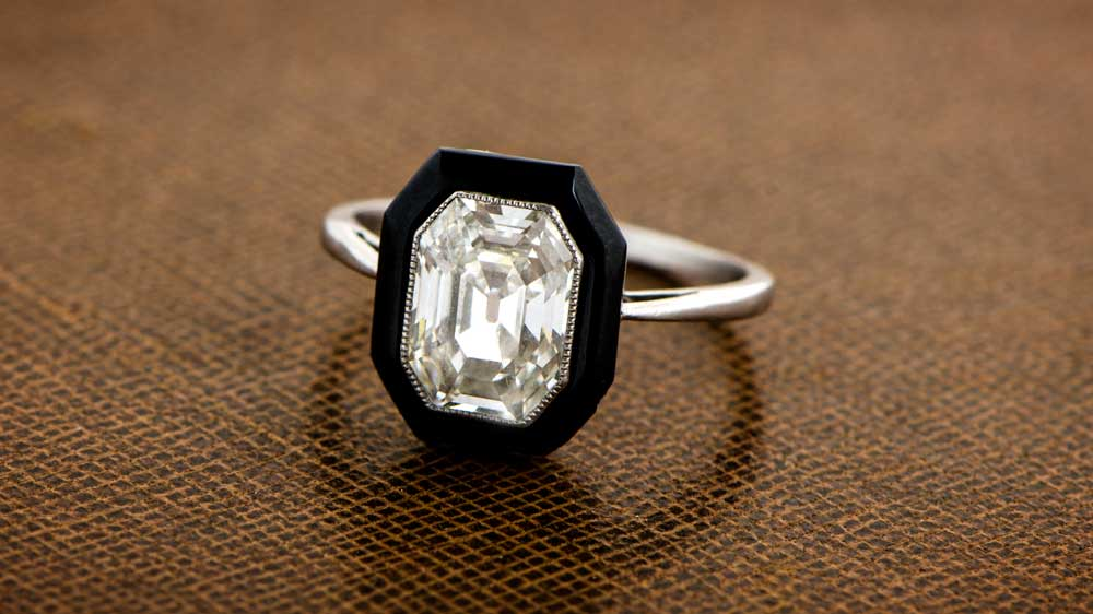 Antique Emerald Cut Diamond in Ring