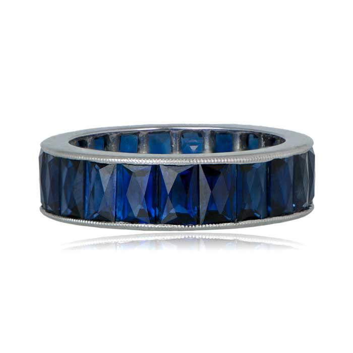 French cut wedding band with sapphires
