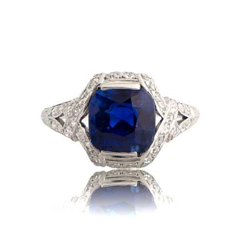 3.53 Kashmir Sapphire Engagement Ring - Estate Diamond Jewelry
