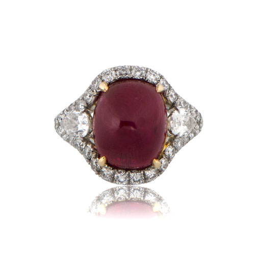 Custom Burma Ruby Ring: Vintage Burma Ruby Cocktail Ring