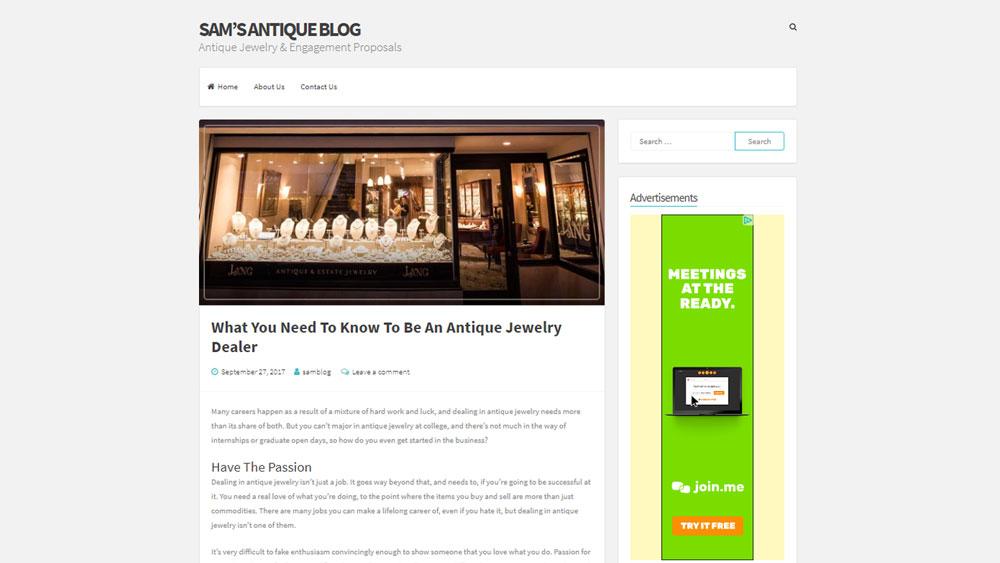 Sam's Antique Blog Screenshot