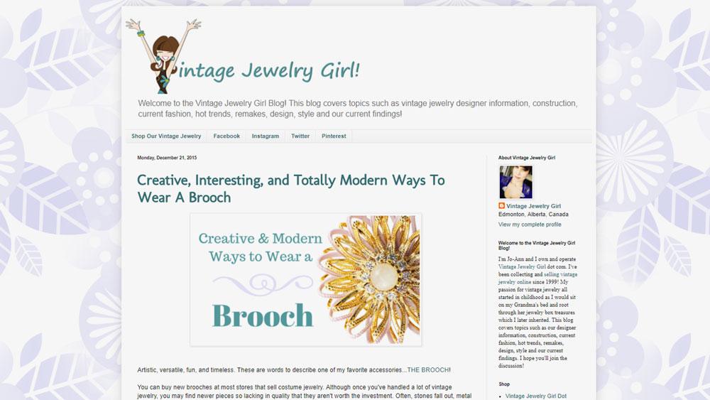 Vintage Jewelry Girl Blog Screenshot