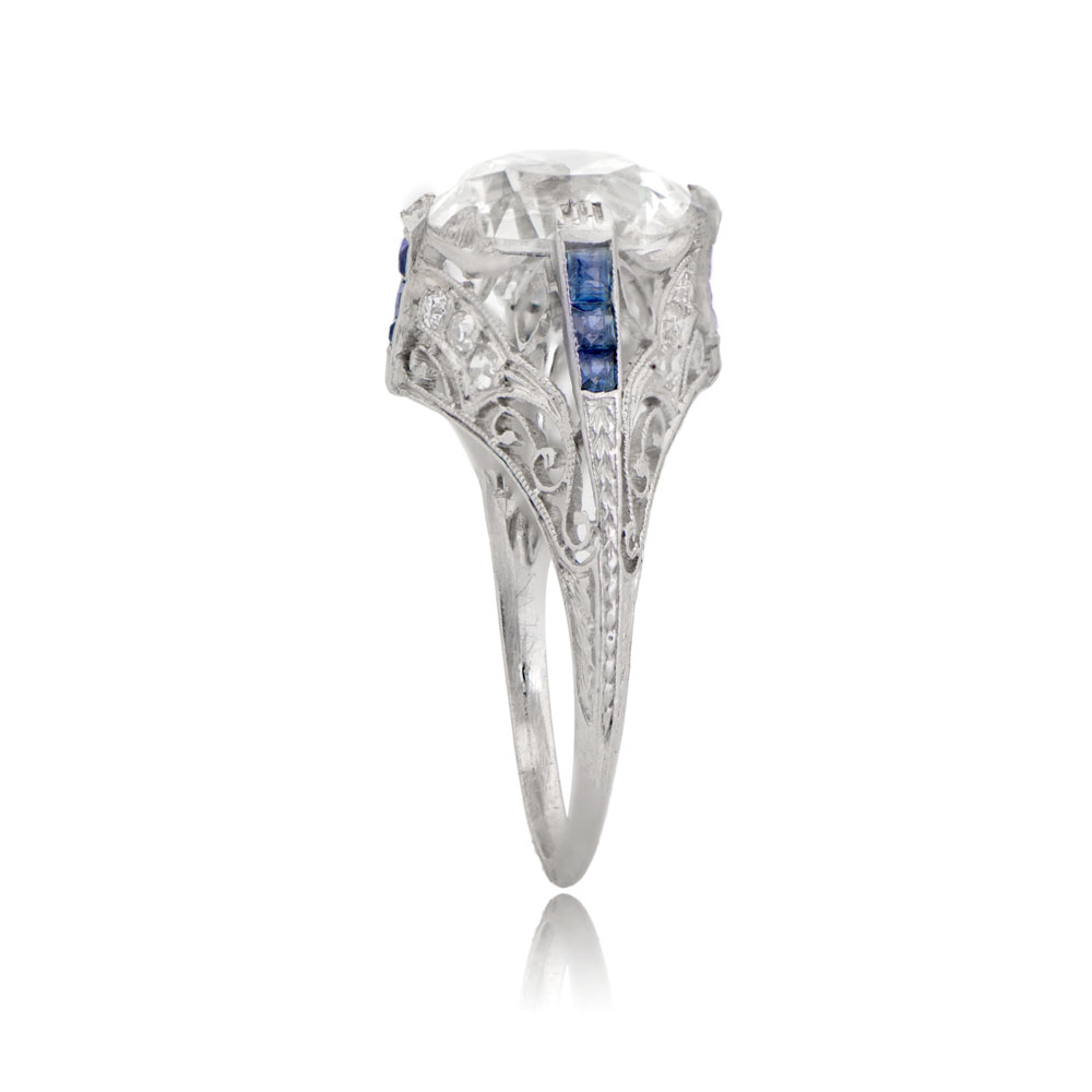 cf83727dda6e7 Antique Art Deco Diamond and Sapphire Engagement Ring