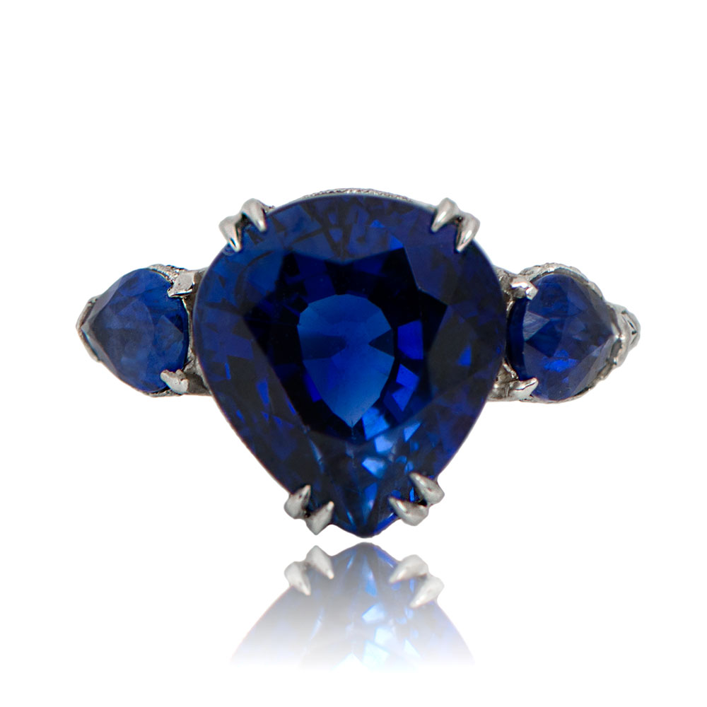 Antique pear shaped Ceylon sapphire ring