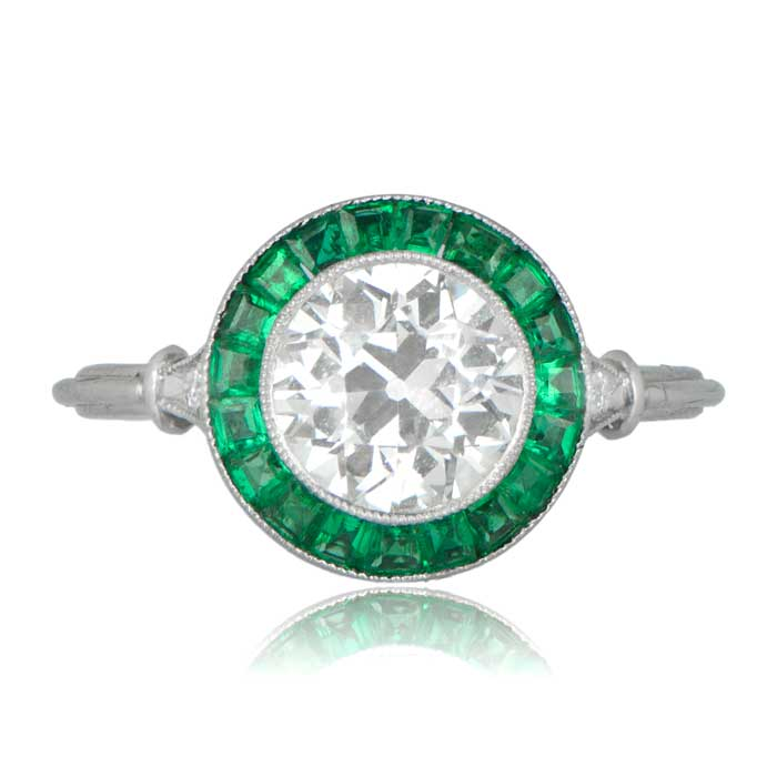 602935043713 Old European Cut Diamond and Natural Emerald Halo Ring
