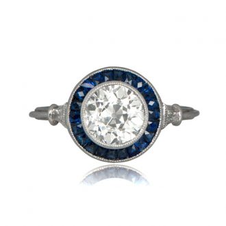 2 24ct Estate Dia Sap Engagement Ring Estate Diamond Jewelry