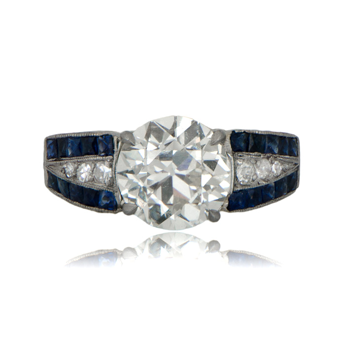 2.28 Old European cut Amsterdam sapphire and diamond ring