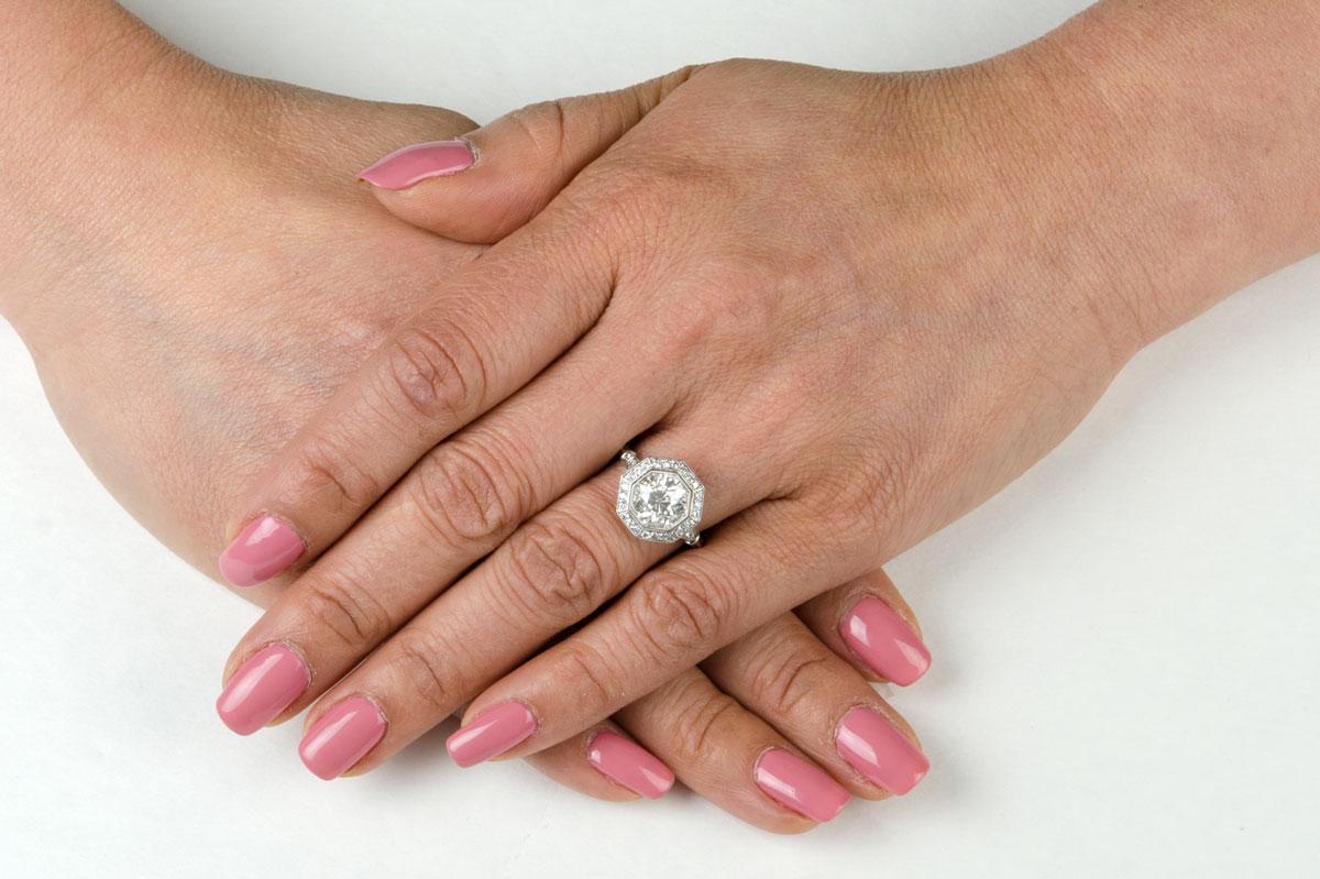 2 30ct Octagon Halo Engagement Ring Estate Diamond Jewelry