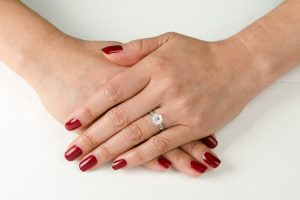 Vintage Engagement Ring on Finger