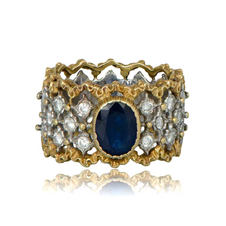 Vintage Buccellati gold and sapphire ring