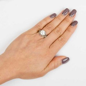 2.5 CARAT ENGAGEMENT RING ON A FINGER