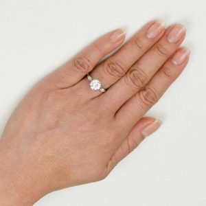 2.00ct engagement ring on a finger