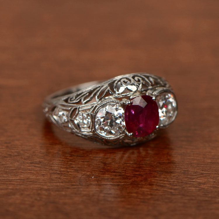 Antique Ruby Ring on Table