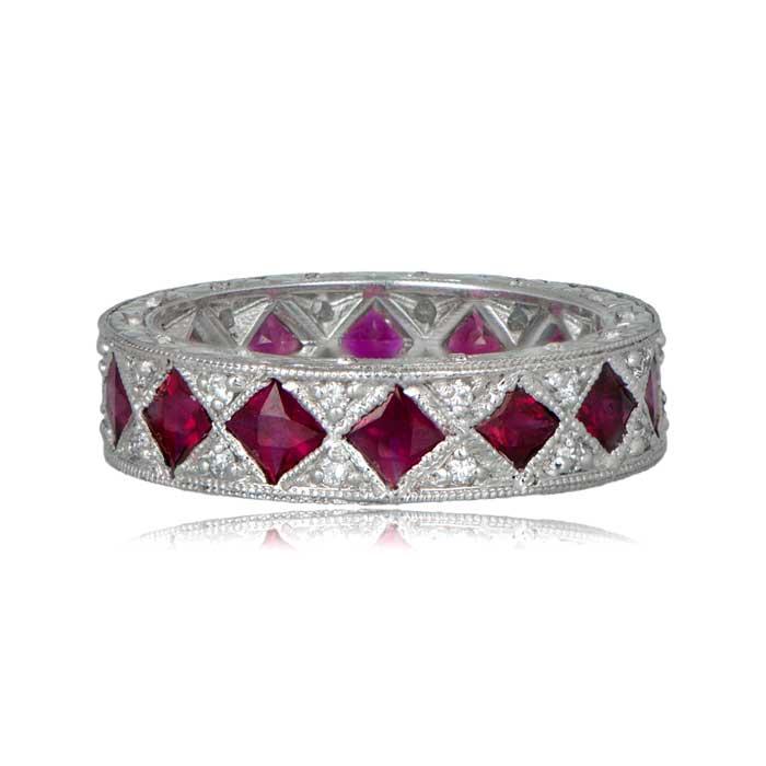 Ruby Wedding Rings.French Cut Ruby Wedding Band