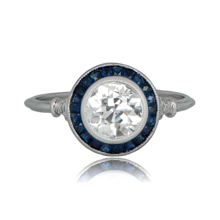 1 21ct Diamond And French Cut Sapphire Engagement Ring