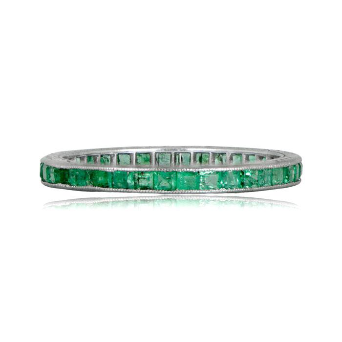 Emerald Wedding Band.Antique Emerald Wedding Band