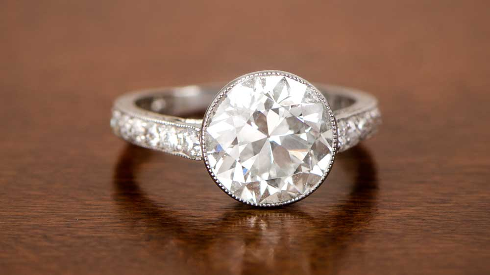 Bezel Set Three carat diamond Ring