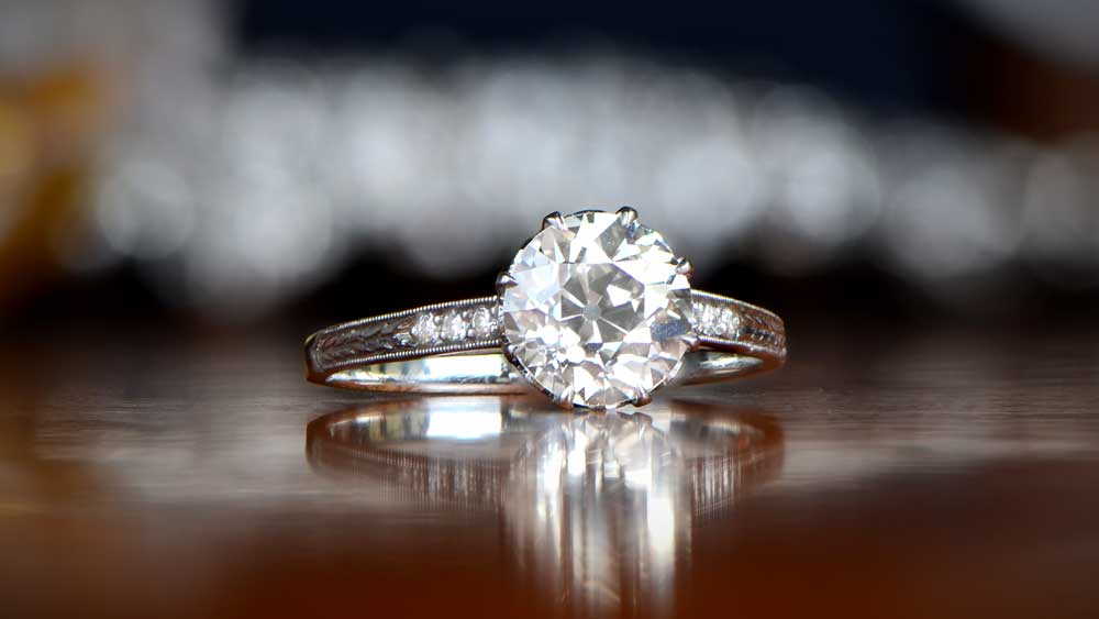 Old European Cut Diamond in an engagement ring