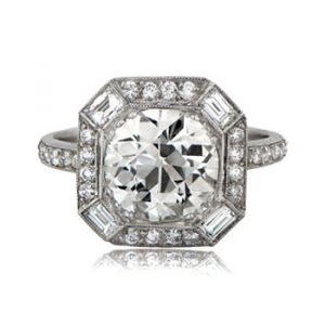 Art Deco style square-cut engagement ring