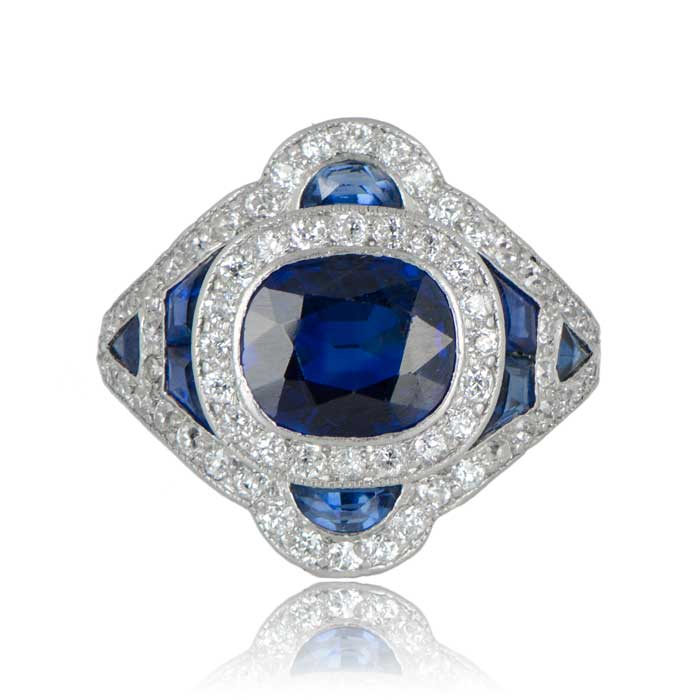 Rare antique diamond and sapphire ring