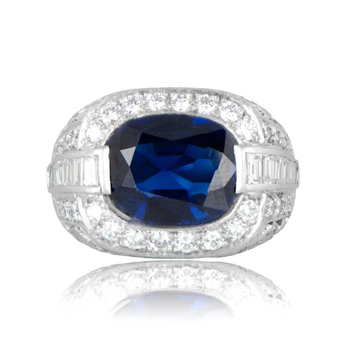 Vintage sapphire ring with diamond accents