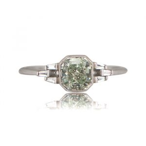 Vintage Fancy Green Diamond Ring