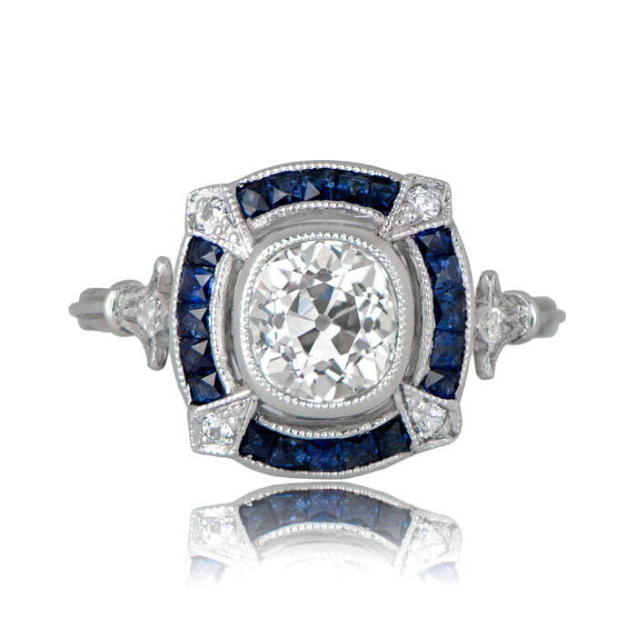 Art Deco inspired Cambridge sapphire and diamond engagement ring