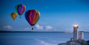 Proposing on hot air balloon