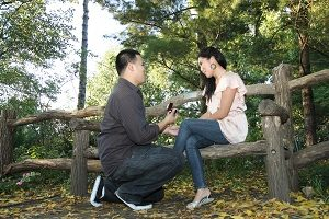 Secluded outdoor proposal with engagement ring