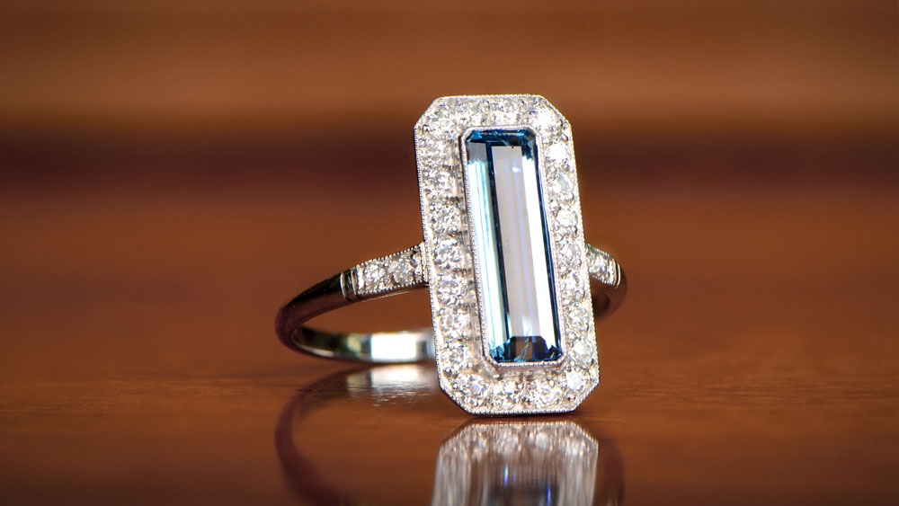 Elongated Aquamarine Platinum Ring
