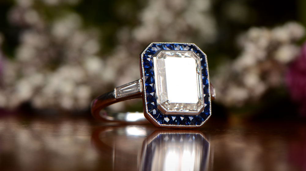 Elongated Diamond and Sapphire Engagement Ring
