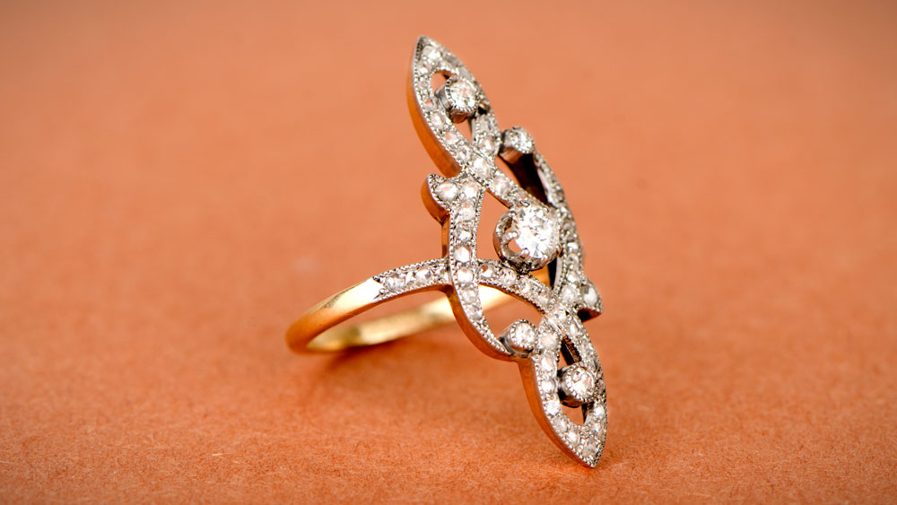 Elongated Floral Edwardian Diamond Ring