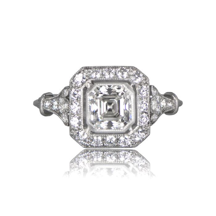 Art Deco Style Asscher Cut Diamond Ring Estate Diamond Jewelry