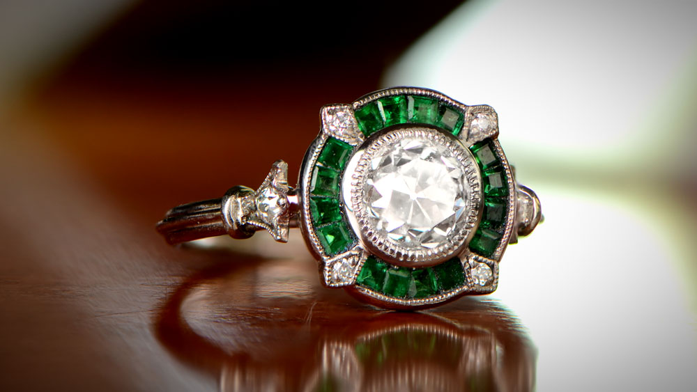 A Emerald Halo Promise Ring