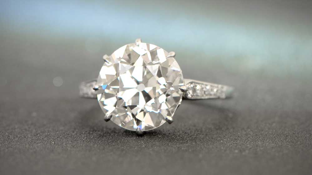 Antique Platinum 4ct Engagement Ring