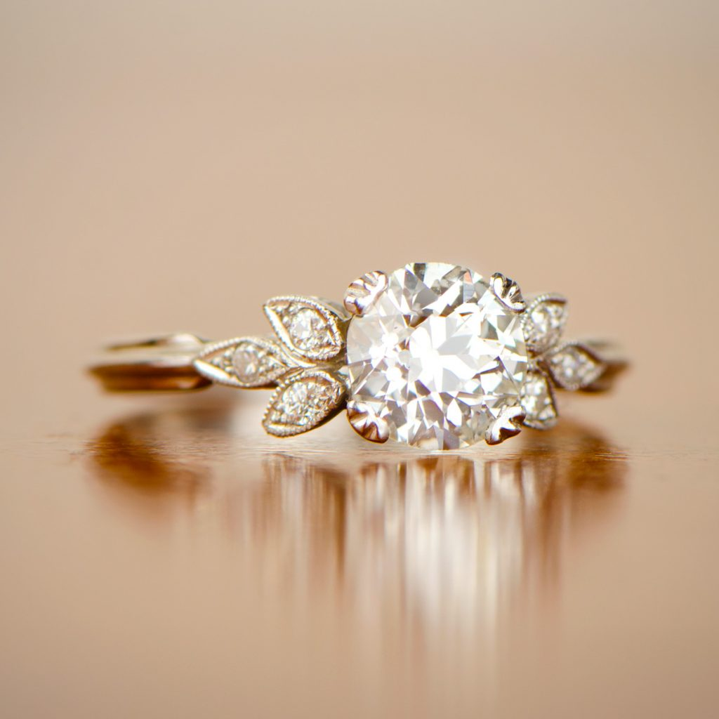 Platinum Engagement Ring with Desk Background