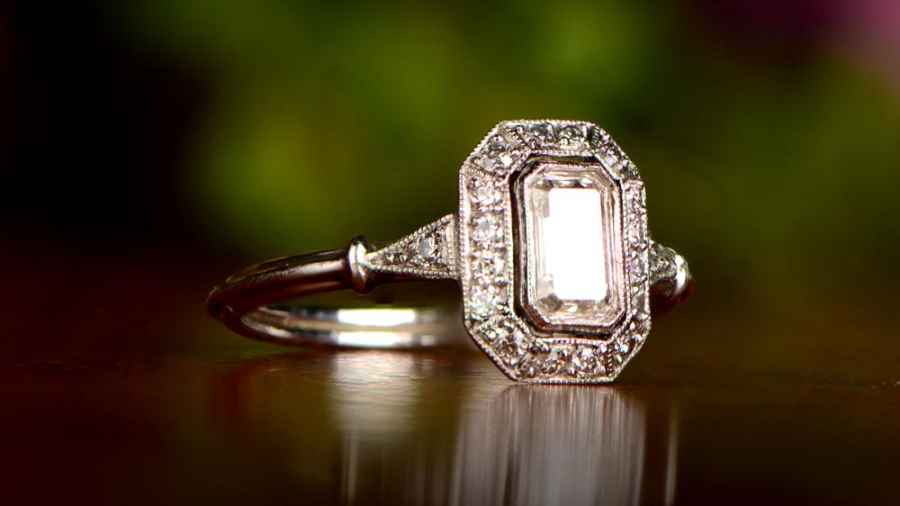 Emerald Cut Diamond Sparkling in light