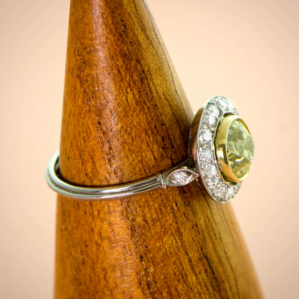 Yellow Diamond with Diamond Halo Ring