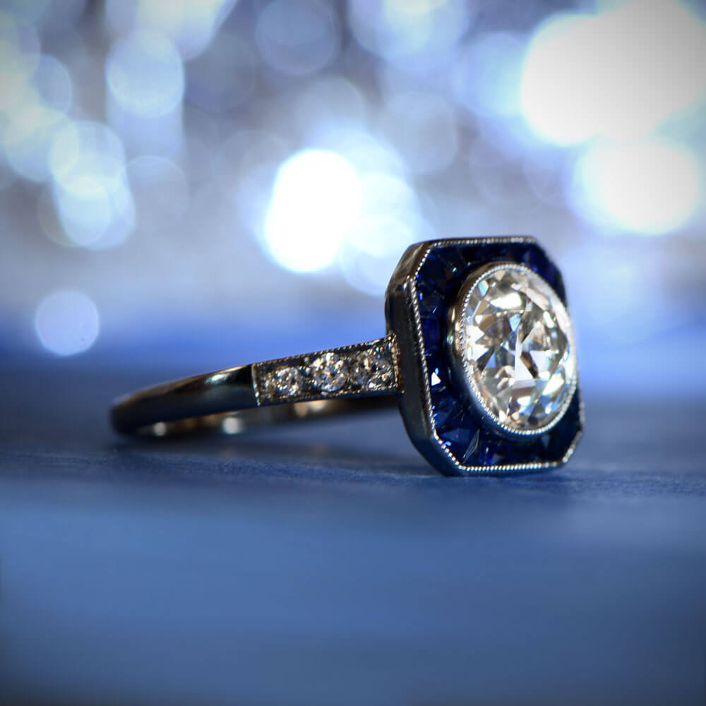 Diamond and Sapphire Engagement Ring with Bokeh