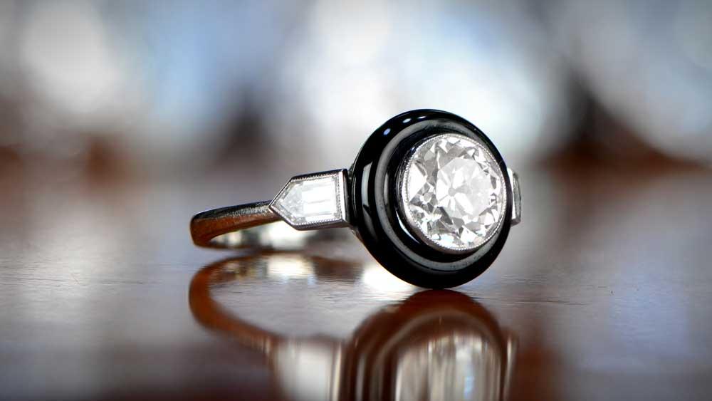 Upgraded Onyx Halo Engagement Ring